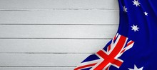 Australia Flag, On Top Of White Wood. Wrinkled Fabric.