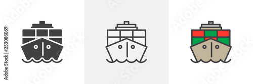 Container, cargo ship icon Fototapeta