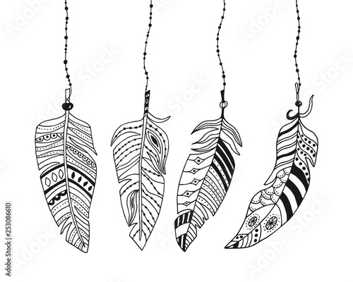 decorative-feathers-in-boho-style-hand-drawn-feathers-with-patterns-hang-on-a-string-with-beads-vector-illustration