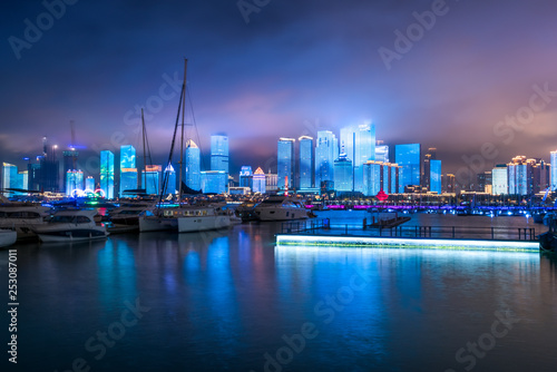 Poster London Nightscape of Fushan Bay, Qingdao..