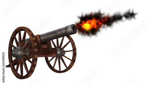 Valokuva old cannon isolated on white background