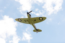 Supermarine Spitfire Plane Flys Closely During An Airshow