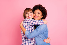 Close Up Photo Two Mindless Diversity She Her Ladies Eyes Closed Hold Each Other Close Missed I Have Not Seen For Ages Wear Casual Jeans Denim Checkered Shirt Clothes Outfit Isolated Pink Background
