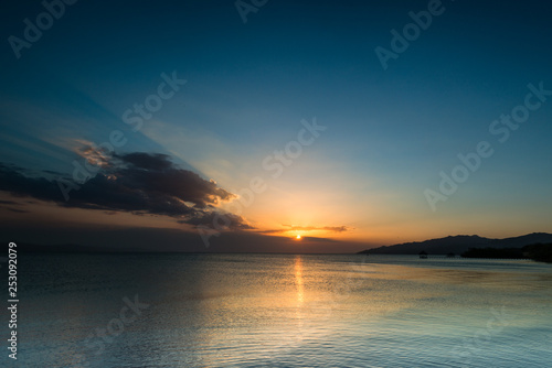 Beautiful and colorful sunset landscape at Golfo de Cariaco, Sucre State