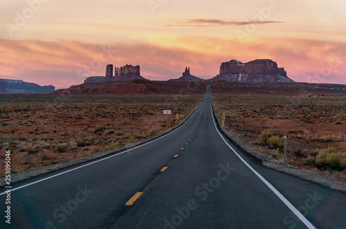 Canvas Prints Route 66 Monument Valley, Forrest Gump Road Point at Sunrise
