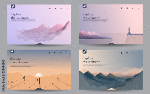 Door stickers Pale violet Vector landscapes in a minimalist style