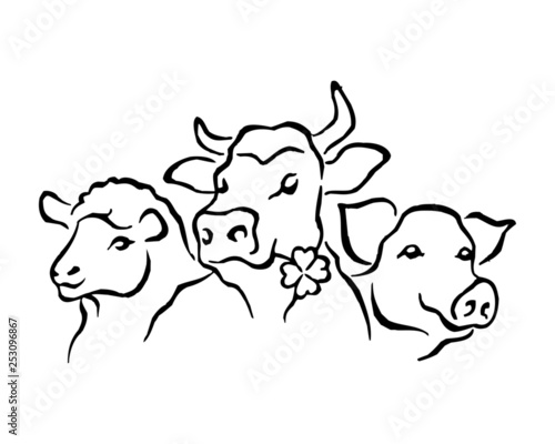 Tuinposter Doe het zelf Domestic animals, sheep, cow, pig, set of black and white icons