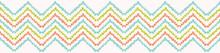 Pretty Geometric Chevron Seamless Repeating Border. Hand Drawn Vector Illustration. Simple Ornamental Arrow Motif In Decorative Coral Peach, Teal White Ribbon Trim. Summer Fashion, Retro Home Decor.