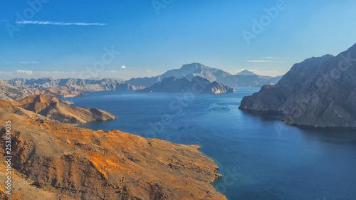 Foto auf AluDibond Blau Jeans Khor Najd. Fantastic mountain landscape. Ru'us al Jibal. Al Hajar Moutains. Musandam. Oman