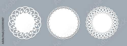 Fotografía Lace doily laser cut paper Round pattern ornament Template mockup of a round whi