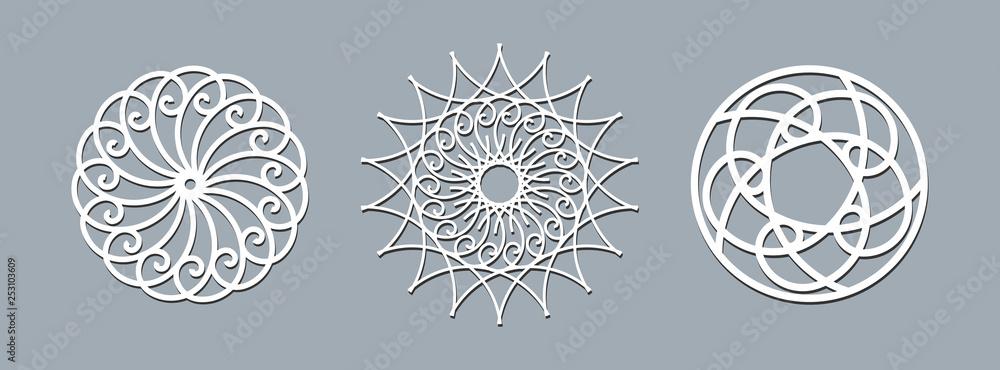 Fototapety, obrazy: Mandala layout template laser cutting Ethnic round pattern ornament Template layout mandala lace doily napkin laser cutting frame Set Design element for elegant invitation banner Oriental theme Vector