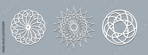 Fotografie, Obraz  Mandala layout template laser cutting Ethnic round pattern ornament Template lay