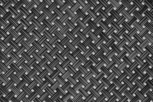 Black Grey Dark Wicker Pattern For Background Rattan Texture, Detail Handcraft Bamboo Weaving Texture Background. Woven Pattern.
