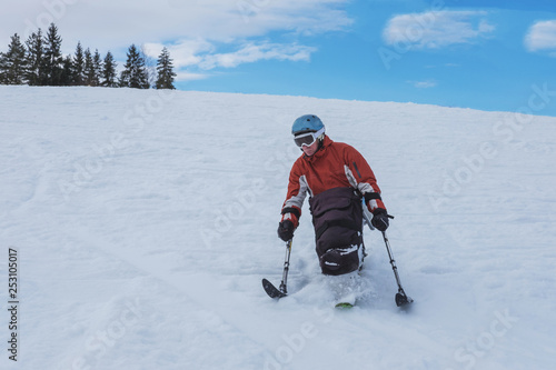 Cuadros en Lienzo Wheelchair athlete and  Winter Sport,  handicapped person and Mono Ski, handicap