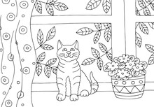 Hand Drawn Coloring Page With A Cat On The Windowsill