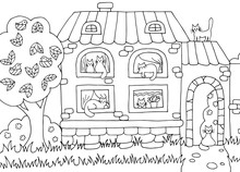 Hand Drawn Coloring Page With House And Cats