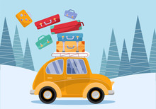 Travel Concept. Yellow Vintage Car With Travel Suitcases On Roof. Winter Tourism, Travel, Trip. Flat Cartoon Vector Illustration. Car Side View With Heap Of Falling Suitcases On Firs Trees Background