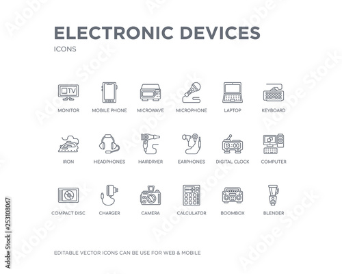 simple set of electronic devices vector line icons  contains
