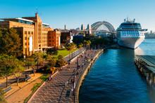 A Cruise Ship Docks In The Rocks In Circular Quay, Sydney, Australia