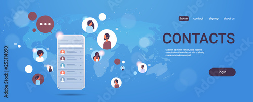 Photo  contact list of mix race people social network communication concept smartphone