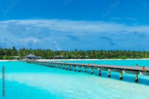 Wyspa Maldives z białą piaszczystą plażą i morzem