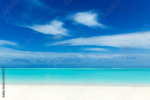 Fototapeta  Maldives island with white sandy beach and sea