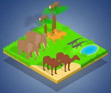 Creature Concept Banner. Isometric Banner Of Creature Vector Concept For Web, Giftcard And Postcard