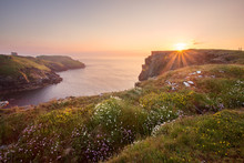 Sunset At Tintagel Cornwall Uk