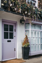 Pastel Pink Door On An English House In London, UK.
