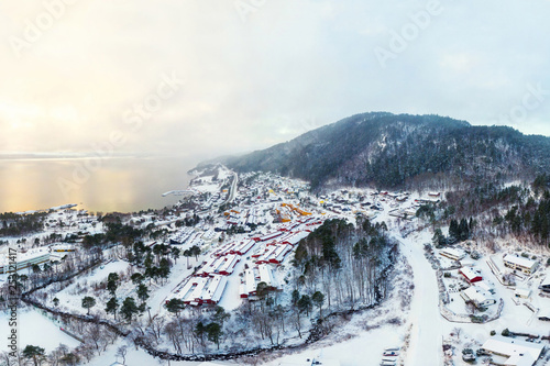 Aerial view of residential area in Molde, Norway during a cloudy day in winter Tablou Canvas