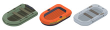 Inflatable Boat Icons Set. Iso...