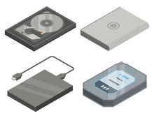 Hard Disk Icons Set. Isometric...