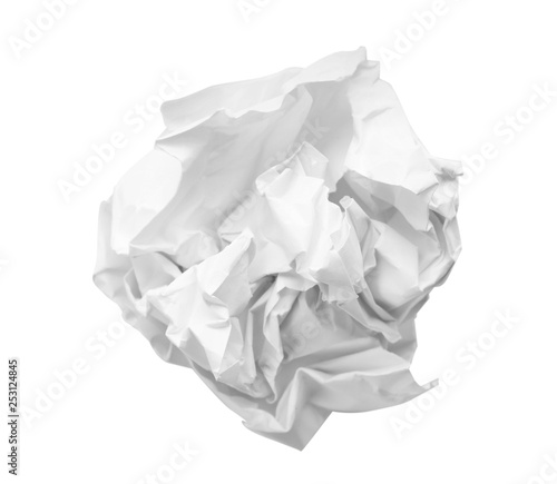Crumpled sheet of paper on white background Wallpaper Mural