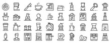 Barista Icons Set. Outline Set...