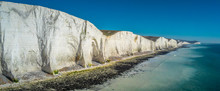 Aerial View Over Seven Sisters White Cliffs At The Coast Of Sussex England