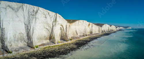 Fotografie, Tablou  Aerial view over Seven Sisters White Cliffs at the coast of Sussex England