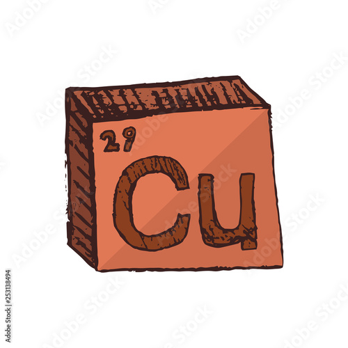 Valokuva Vector three-dimensional hand drawn chemical reddish brown symbol of metal copper or cuprum with an abbreviation Cu from the periodic table of the elements isolated on a white background