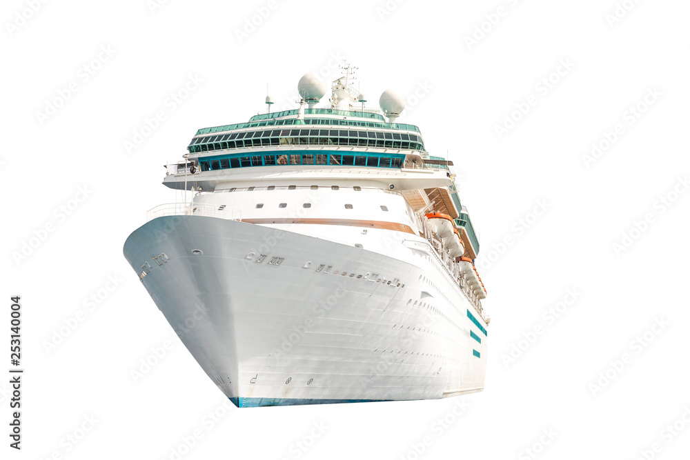 Fototapety, obrazy: Cruise ship isolated on white background, ocean liner