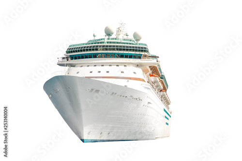 Cuadros en Lienzo Cruise ship isolated on white background, ocean liner