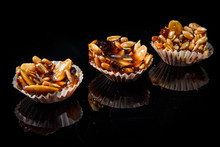 Row Of Three Of Useful Handmade Candies With Caramelized Sunflower And Pumpkin Seeds