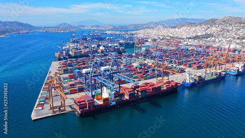 Aerial drone photo of industrial container terminal in commercial port of Piraeus, Drapetsona, Attica, Greece