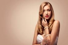 Fashion Model Beauty Portrait, Elegant Woman Portrait, Beautiful Makeup Long Golden Hair, Pearls Jewelry