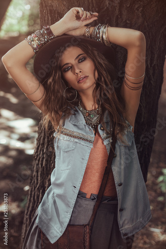 Fotobehang Gypsy young sexual woman