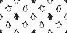Penguin Seamless Pattern Vector Bird Fish Salmon Cartoon Scarf Isolated Tile Background Repeat Wallpaper Illustration Doodle