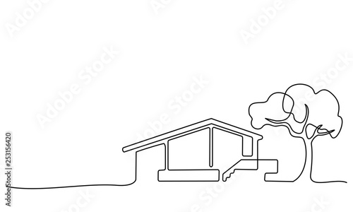 Photo  Continuous one line drawing Modern house logo