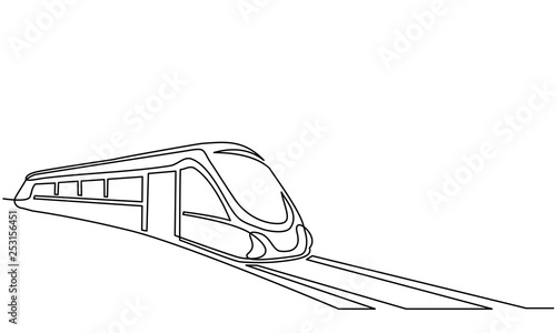Fotomural  Continuous one line drawing Modern passenger train