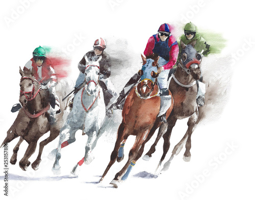 Fototapeta Horse race sport activity handmade watercolor painting illustration isolated on