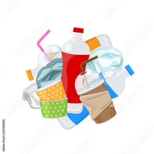Fotografia, Obraz  pile of plastic waste dump isolated on white background, plastic bottle garbage