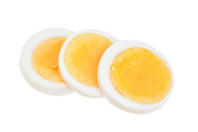 Boiled Egg Slice Isolated On White Background