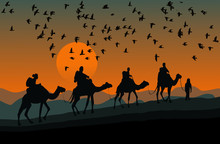 Silhouette Of Four Camel Rider...